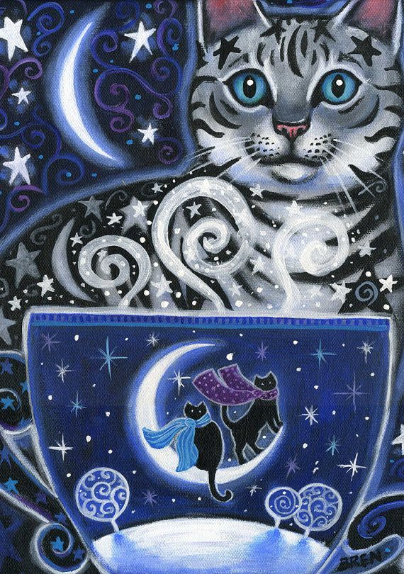 Soltice Magic.. By BlueLucyStudios.. Winter Cat, Coffee scene.....Silver tabby edition of the coffee magic series.  This print was created using Epson archival inks on