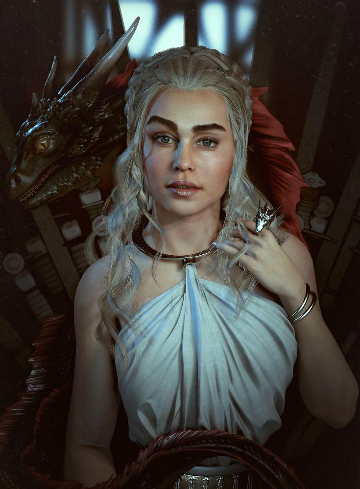 Character Design Unreal 4 : Artstation khaleesi the throne is mine realtime fan art