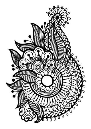 black line art ornate flower design collection ukrainian ethnic style autotrace of hand drawing Stock Vector
