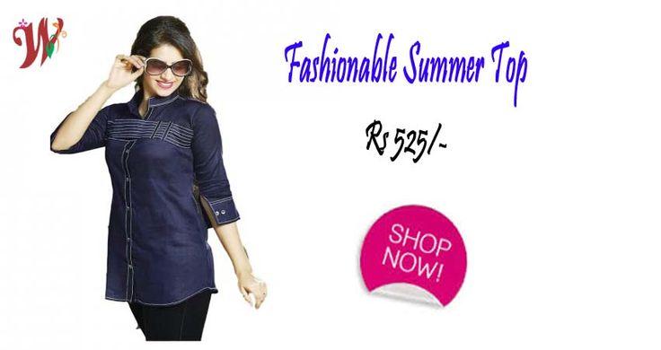 Fashionable Summer Top Navy Blue Color Rs 525/-  Shop Now>> weddingmatt.com  #SummerTop #WomenClothings #WomenWear #OnlineWomenTop #FashionableTops #StylishTops #ColorfulTop #LatestTop