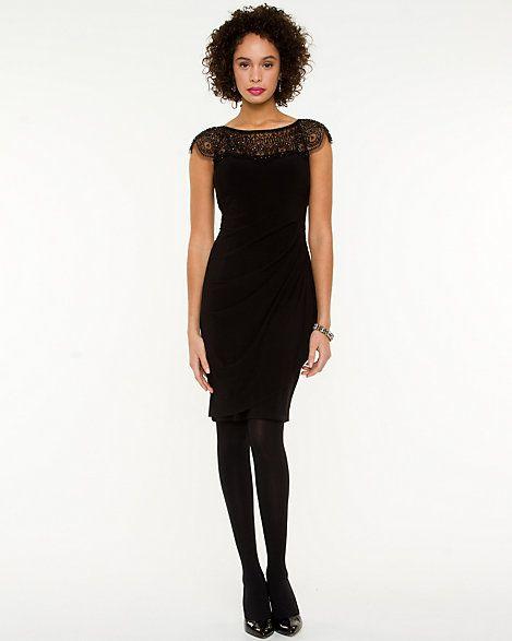 Beaded Illusion Neckline Dress