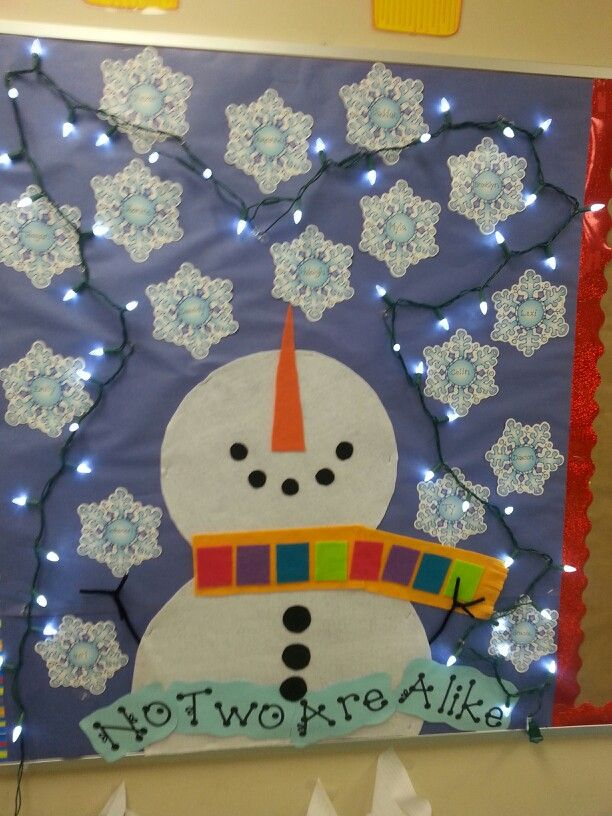 Winter Bulletin Board - student names on snowflakes