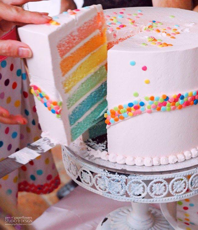 Rainbow Unicorn Birthday Cake - #rainbowlayercake