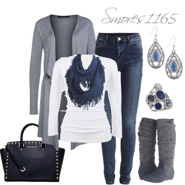 """Blues & Grays"" by smores1165 on Polyvore"