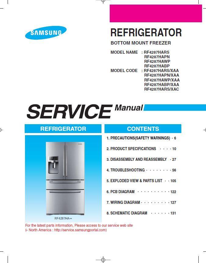samsung rf4287hars rf4287habp rf4287hawp rf4287hapn refrigerator service  manual and repair instructions