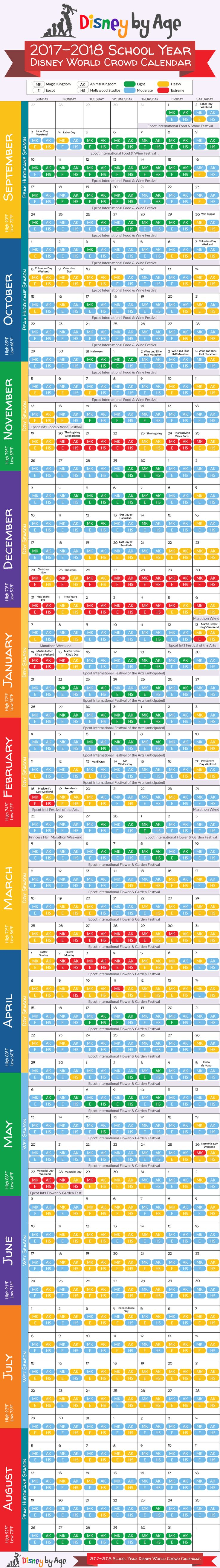Our 2017-2018 school year Disney World Crowd Calendar has all the information you need to plan your Disney trip!