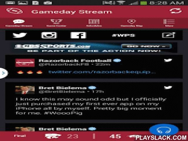 Arkansas Razorbacks Gameday  Android App - playslack.com ,  The official Arkansas Razorbacks Gameday application is a must-have for fans headed to campus or following the Razorbacks from afar. With FREE LIVE AUDIO, interactive social media, and all the scores and stats surrounding the game, the Arkansas Razorbacks Gameday application covers it all! Features Include: + LIVE GAME AUDIO - Listen to free live audio for football games and other sports throughout the school year + SOCIAL STREAM…
