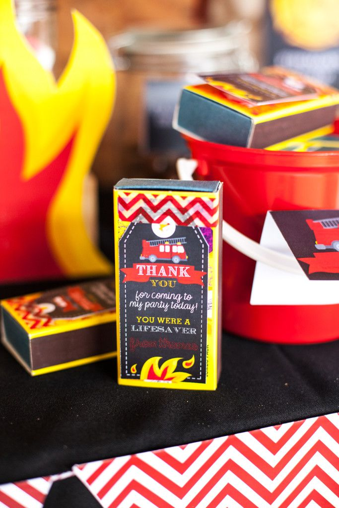 Matches as Favors for a Firefighter Birthday Party #FirefighterPartyFavorsIdeas