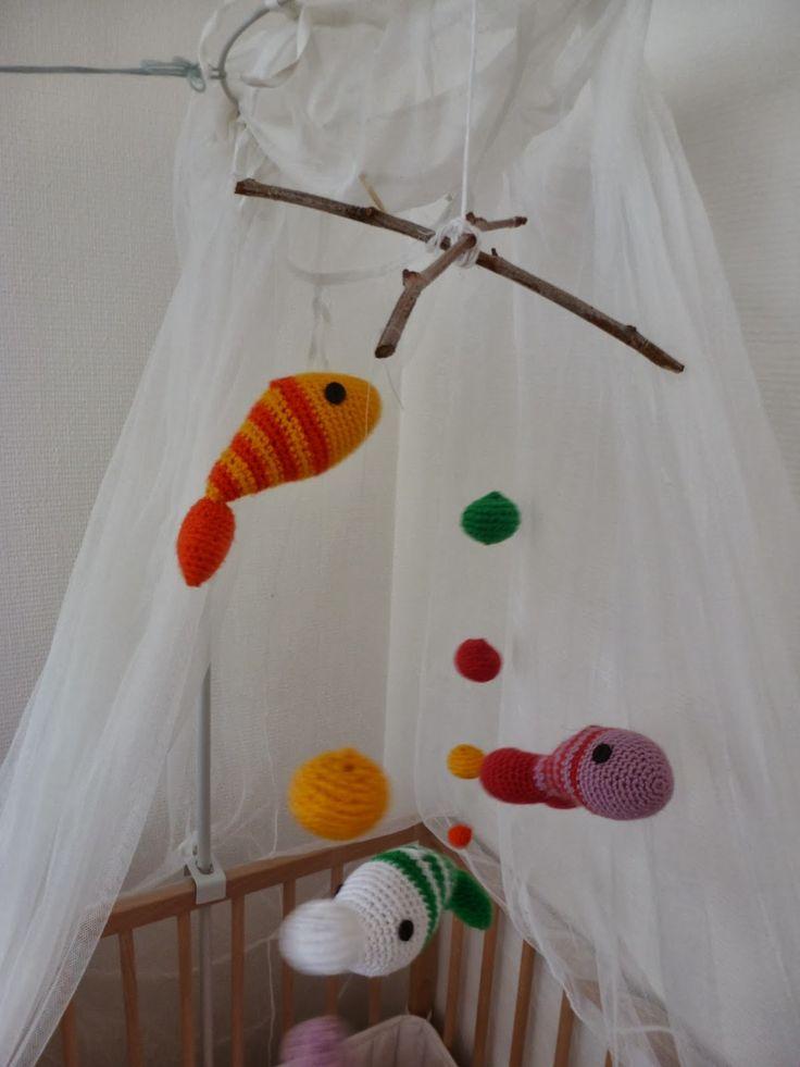 movil de peces a crochet