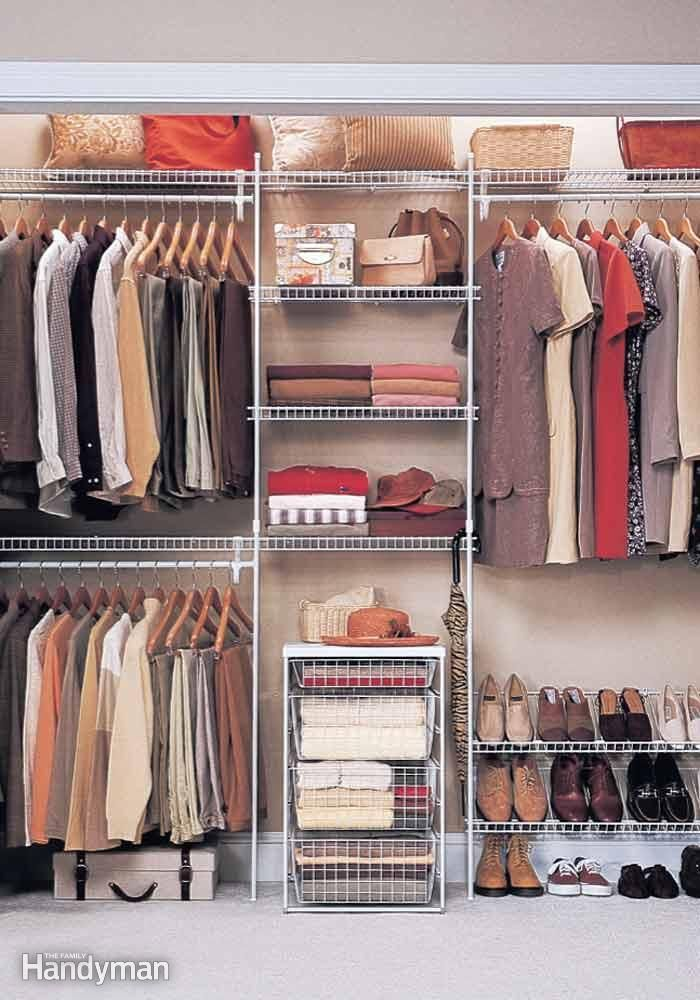 Different bar heights ideal for separating shirts, pants and dresses, while maximizing closet space