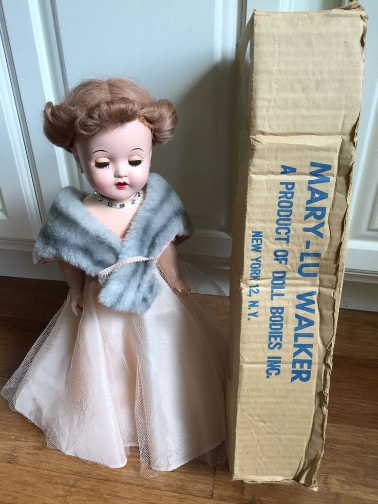 Vintage Doll - 1950's Mary Lu Walker glamorous evening gown and stole in box  #DollBodiesInc