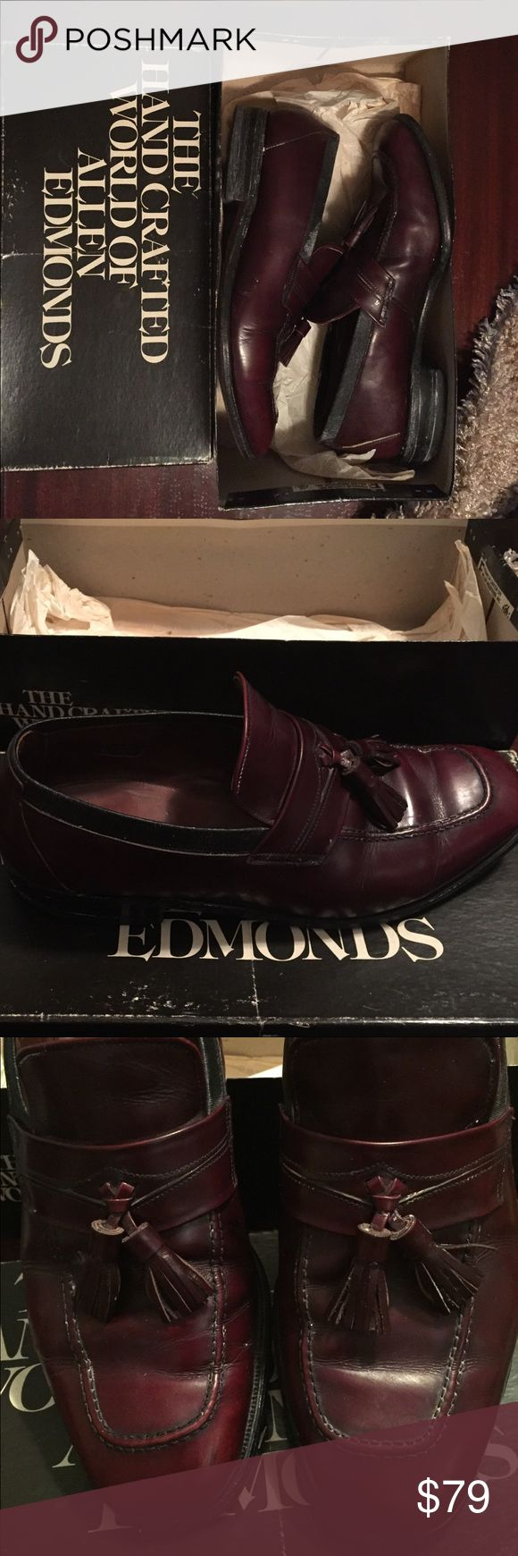 Allen Edmonds Burgundy Leather Loafer Slip Ons: 9M Allen Edmonds Burgundy Leather Loafer Slip Ons: 9M Worn to weddings and church events. Still in original box and tissue. Shows signs of wear on soles but in great condition. Allen Edmonds Shoes Loafers & Slip-Ons