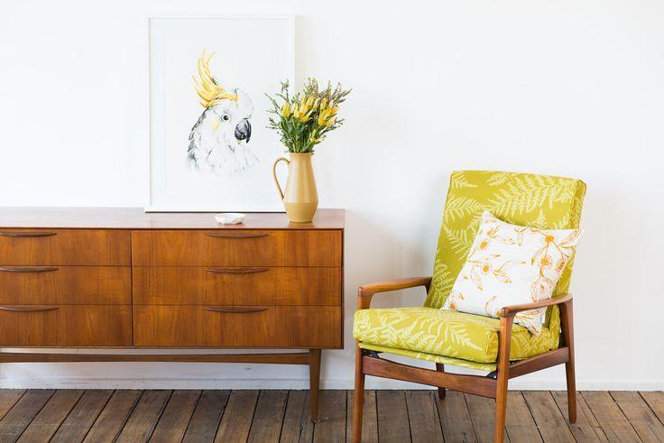 Bracken in Fennel restored mid-century armchair. Hand printed onto 100% hemp avocado basecloth.  www.inkandspindle.com.au