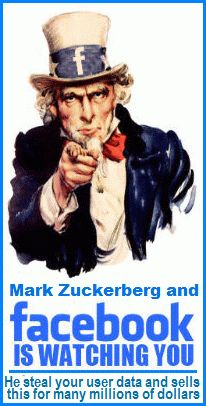 """Judas M. Zuckerberg klaut """"legal"""" allerlei Daten von FB Mitgliedern! Wenn z.b. ein zukünftiges Mitglied bei der  Registrierung gezwungenermassen die AGB anklickt, erklärt er sich einverstanden das er FB erlaubt, über alle persönlichen Daten verfügen darf. Ein ganzes Heer von FB Speichellecker ist nur damit beschäftigt, Daten zu sortieren um letztere danach weiter für teures Geld (2 - 3 Hundert Millionen Euros) im Internet verkauft."""