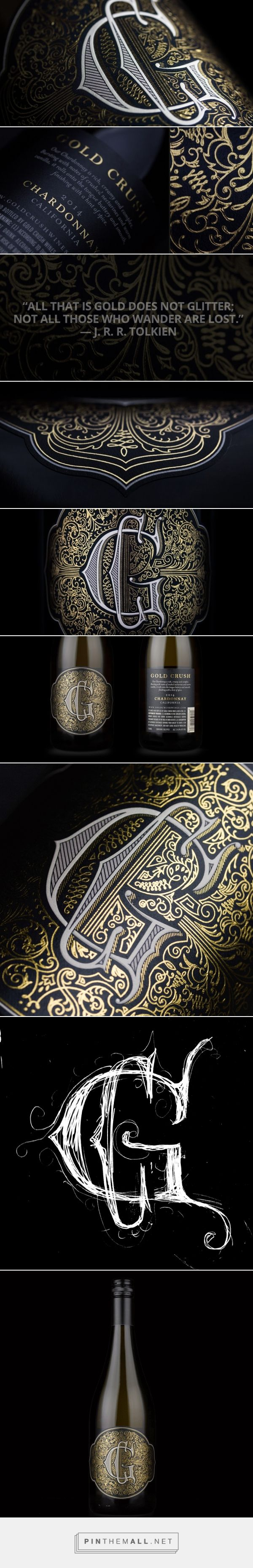 Gold Crush wine label design by Makers & Allies (USA) - http://www.packagingoftheworld.com/2016/06/gold-crush.html
