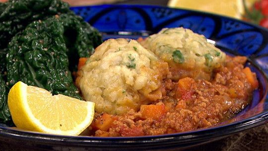 Moroccan mince and herby dumplings