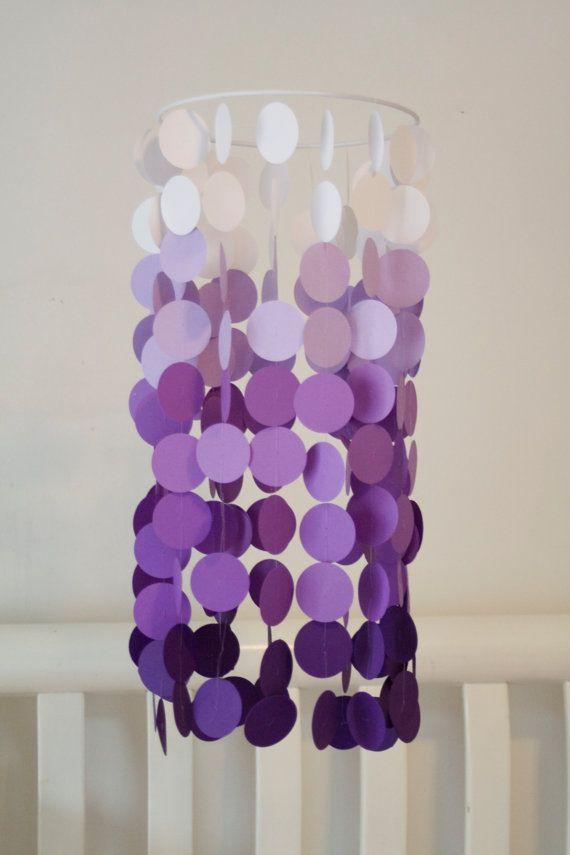 Purple Ombre Paper Crib Mobile, Modern circle mobile, geometric crib mobile…