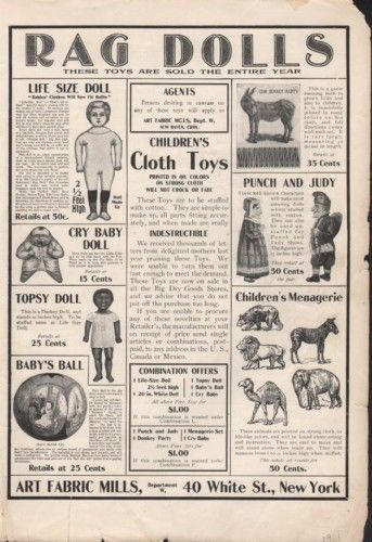 Keywords (text image):rag, doll, agent, life, size, child, children, cloth, toy, punch, judy, cry, baby, menagerie, donkey, horse, mule, bear, lion, zebra, elephant, camel, ball, topsy, party, fabric, mill, pin, tail, dress, clothing, kid, diaper.