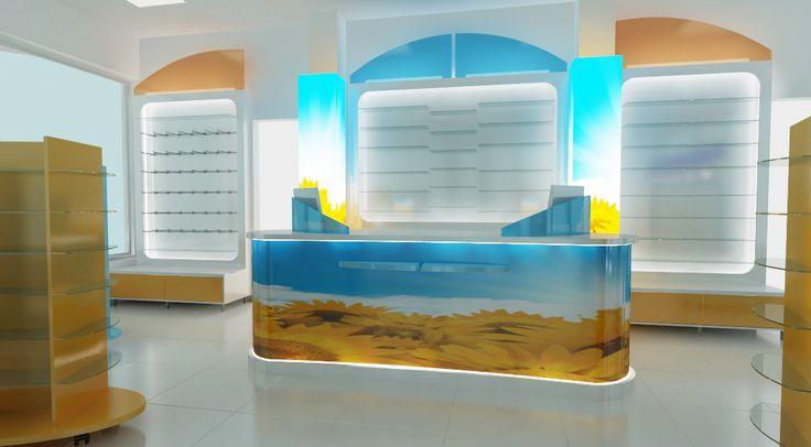Counter farmacie personalizat - mobilier specializat.