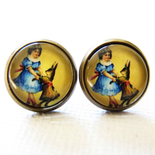 Victorian inspired girl dancing with rabbit cabochon antique gold stud earrings from Missie77art Jewellery on eBay