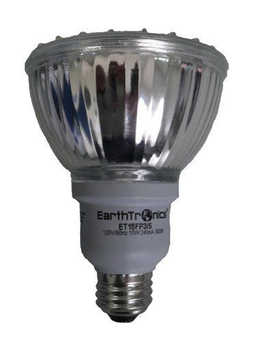 EarthTronics FP315301B 15-Watt 3000K PAR30 Flat CFL Floodlight, White by EarthTronics. $12.95. From the Manufacturer                Your choice of lighting in your home matters. Lighting represents a significant portion of the electrical energy used within your home. This 15-Watts CFL Floodlight replaces a 65-Watts PAR30 incandescent floodlight while cutting energy use by up to 80-percent. This means that over the course of the long 8,000 hour lifespan you could s...