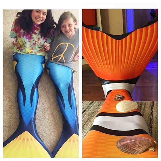 We are in :heart: with these new tails, but we :heart: seeing our fin fans in them even more! Tell us what your favorite is by commenting :fish: for blue tag and :tangerine: for clownfish! Who thinks we need Dory and Nemo emojis ;) #finfun #mermaid #findi