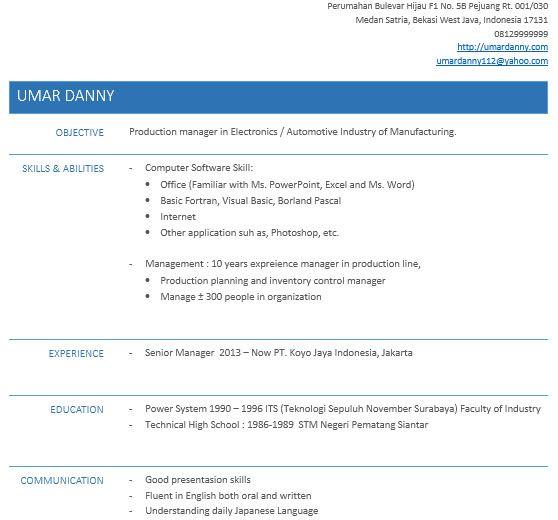 Cara Buat Resume Untuk Melamar Kerja Online Dengan Ms Word Resume Examples Resume Words