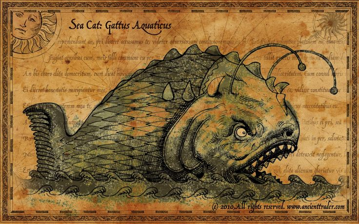 sea monsters -- looks like an angler fish to me!: Supernatural Sea, Ancient Monsters, Map Monsters, Ancient Sea, Seacat Ancient, Sea Monsters, Super Punch