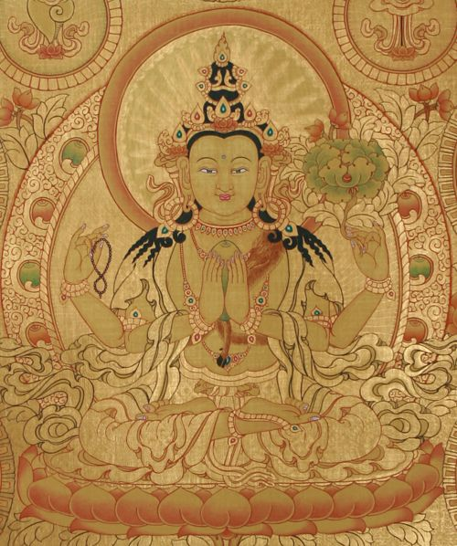 Chenrezig Thangka Painting Google Image Result for http://www.himalayacrafts.com/Images/Products/Large/Chenrezig_Thangka_Painting_1983_1.JPG