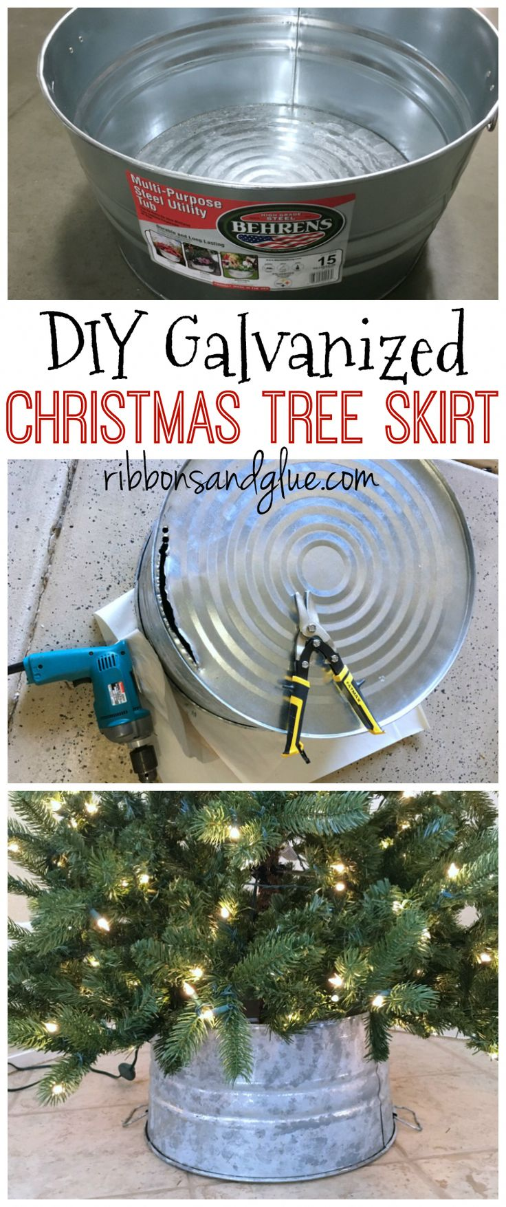 DIY Galvanized Bucket Christmas Tree Skirt made out of a