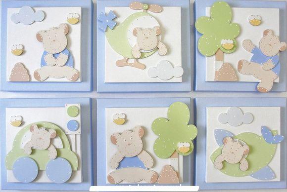 NURSERY ART PAPER PIECING MINI CANVASES - Quadros Bebê Urso