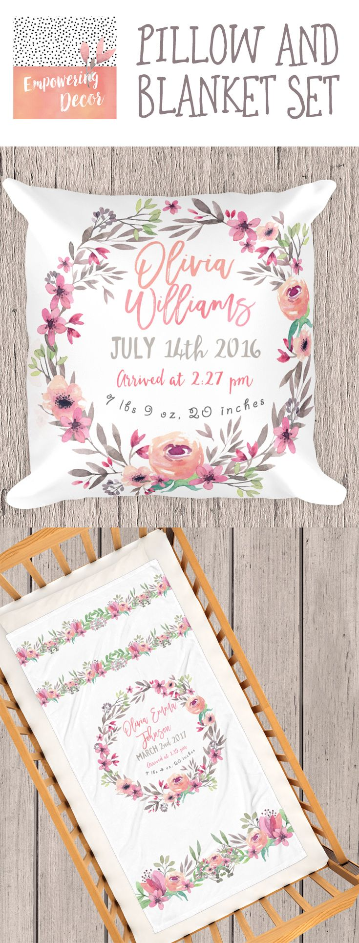 Set of floral pillow and blanket with customized baby birth stats, baby bedding, personalized baby blankets, baby girl blankets, toddler blanket, custom baby blankets, soft baby blankets, monogrammed baby blankets, blankets for babies, crib blanket, best baby blankets, monogram baby blanket, pink baby blanket, blanket baby, customized baby blankets, newborn blankets, grey baby blanket, white baby blanket, newborn baby blankets, designer baby blankets, customized baby blanket