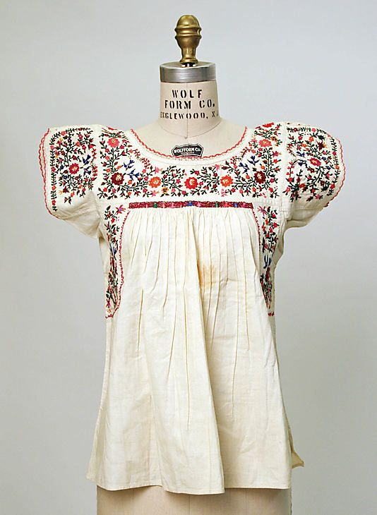 Blouse, 20th c., Mexican, cotton http://www.pinterest.com/gentlework/frida/