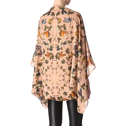 ALEXANDER MCQUEEN Flower and dragonfly cape (Blush