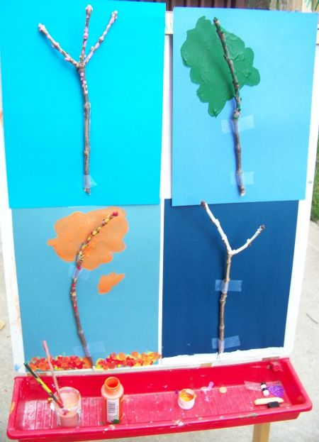 Painting the Four Seasons of a Tree -- using nature and art to explore how the seasons change!