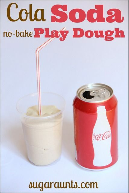 DIY Soda Pop Cola play dough recipe. This smells great! From Sugar Aunts