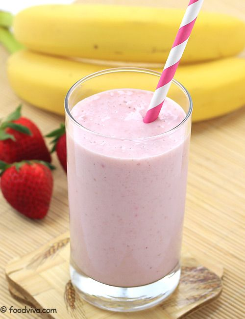 Strawberry Shake with Banana, Milk and Ice Cream