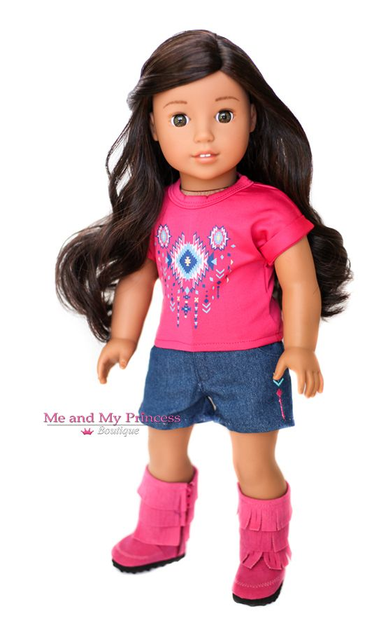 Doll Clothes for American Girl Doll - Pink Tribal Top and Denim Shorts