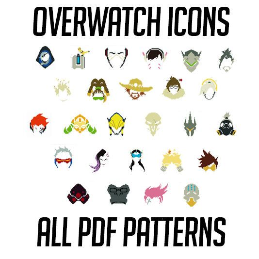 Overwatch Inspired Character Icons - PDF Patterns Only