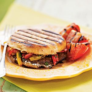Grilled Portobello, Bell Pepper, and Goat Cheese Sandwiches Recipe. This sounds so yummy!