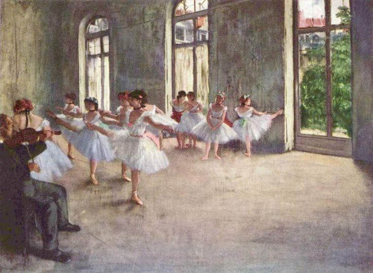 Edgar Germain Hilaire Degas.  Ballettprobe. 1873, Öl auf Leinwand, 45,8 × 61 cm. Cambridge (Massachusetts), Fogg Art Museum. Frankreich. Impressionismus.  KO 01263