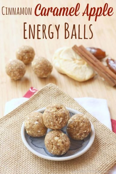 Cinnamon Caramel Apple Energy Balls - a healthy four ingredient lunchbox or after school snack for kids! Great for school since they are nut-free, plus gluten free and vegan. | cupcakesandkalechips.com
