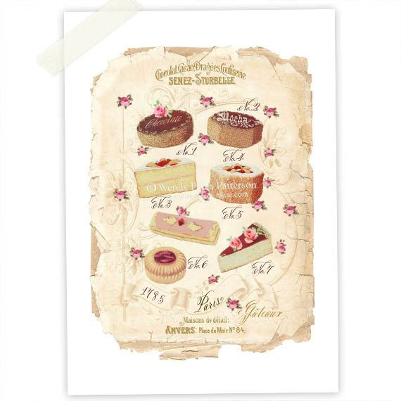 French pastry, bakery, vintage cake illustration, kitchen ...