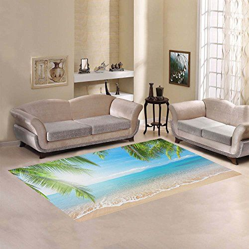 InterestPrint Tropical Palm Coconut Tree Area Rug Cover 7 x 5 Feet Summer Nature Sea Ocean Beach Hawaii Throw Rayon Fiber Carpet Rugs Cover for Home Living Dining Room Decoration -- More info could be found at the image url.Note:It is affiliate link to Amazon.