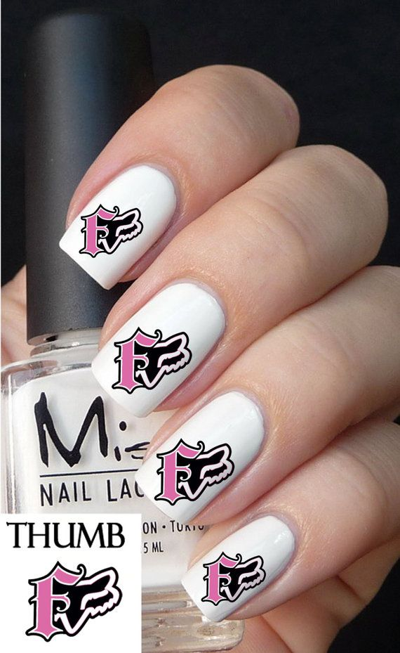 pink fox racing  Nail Decals browning by DesignerNails on Etsy, $3.95