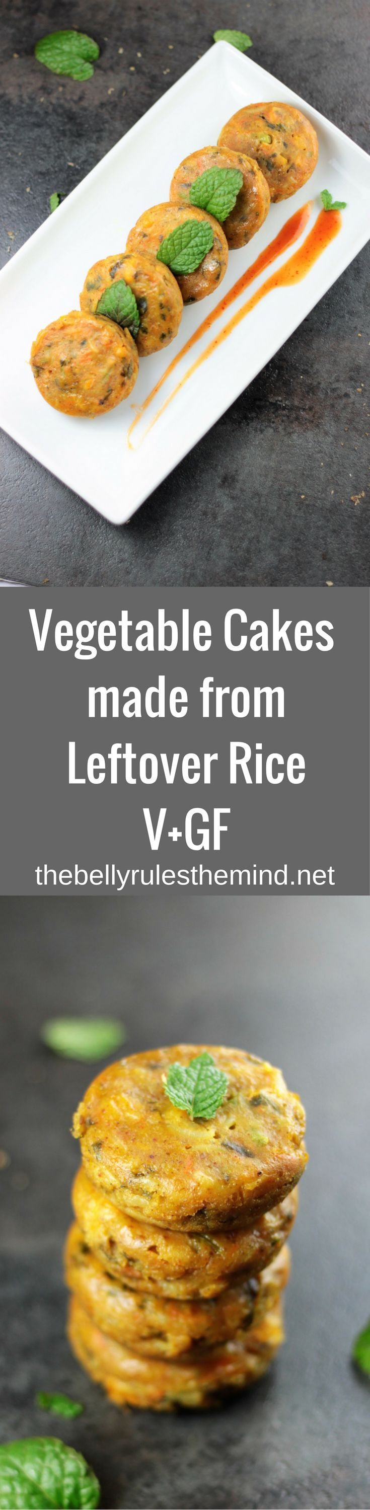 Have a bowl of leftover rice? Wondering what to do with it?Make these Savory Vegetable Cakes. Loaded with nutrition from grains, vegetables & protein (V+GF) |www.thebellyrulesthemind.net @bellyrulesdmind
