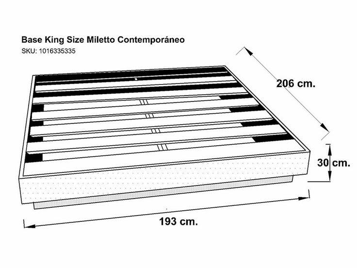 6 Base para Cama King Size Contemporánea Tabaco Miletto Estilo: Contemporáneo. Modelo: Miletto. Color: Tabaco. Material: Madera. Medidas: Alto 30 cm x Ancho 206 cm x Profundidad 195 cm Aproximadamente. Número de piezas: 1. Componente principal: Madera de álamo americano.