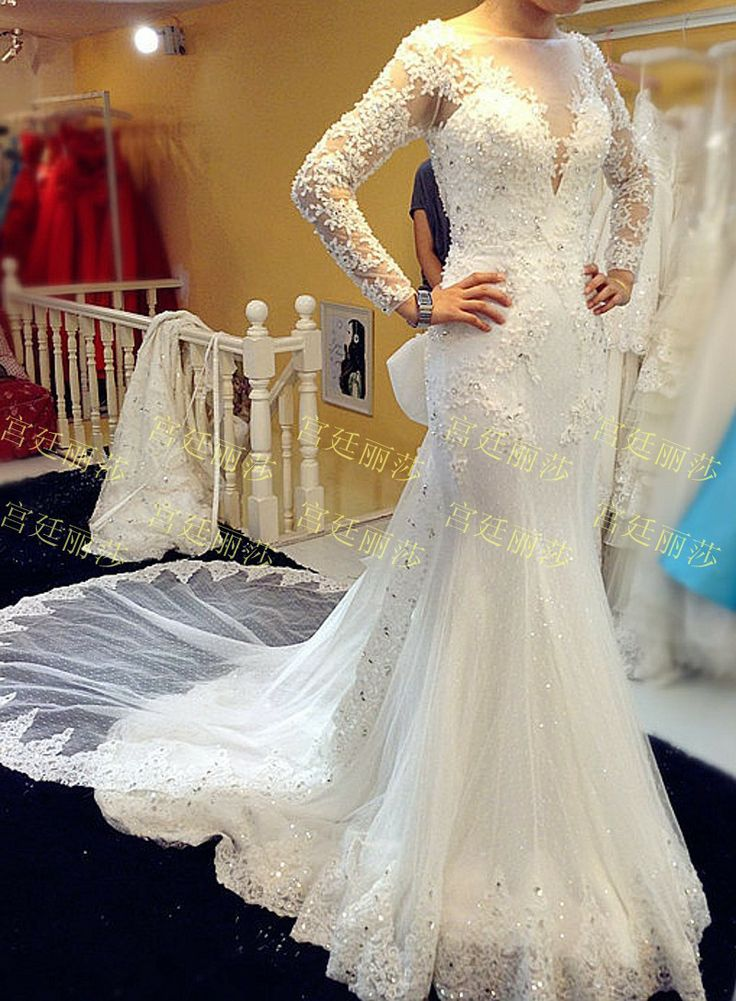 wedding dress lace long sleeves and corset