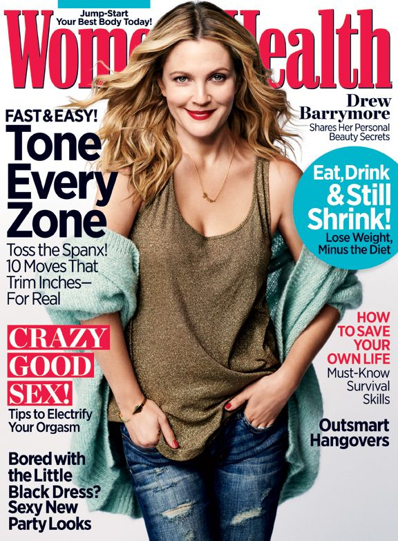 Drew Barrymore shares her personal beauty secrets in the December 2013 issue of Women's Health. RE-PIN if you L-O-V-E her look! Marisols.org