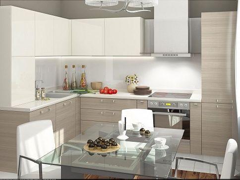 Порту кухня модерн мдф глянец песочный угловая фото